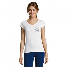 Tee shirt col V femme Moon blanc