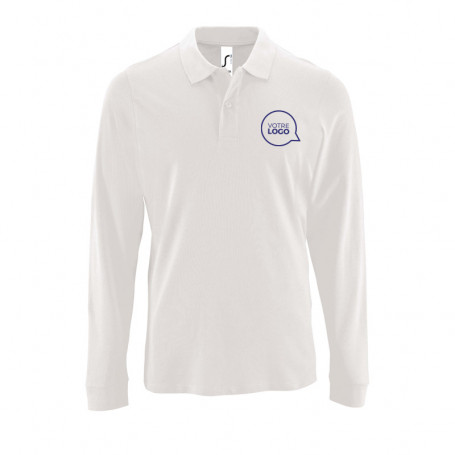 Polo manches longues Perfect blanc
