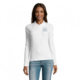 Polo manches longues femme Podium blanc